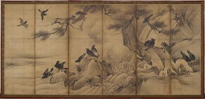 松に叭叭鳥・柳に白鷺図屏風