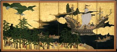 南蛮船駿河湾来航図屏風