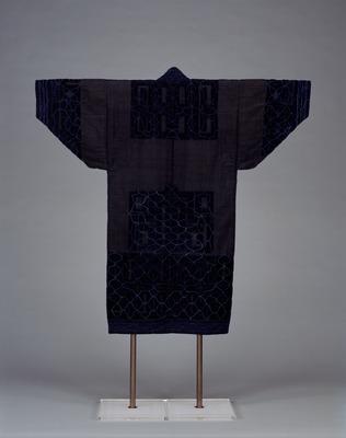 縞藍布切伏浅葱糸縫取上衣