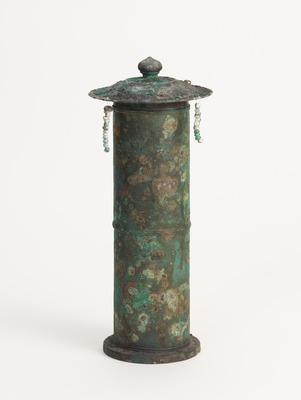 銅製瓔珞付経筒