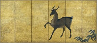 鹿ほととぎす図屏風