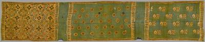 縹地丸文・植物文様更紗装飾布