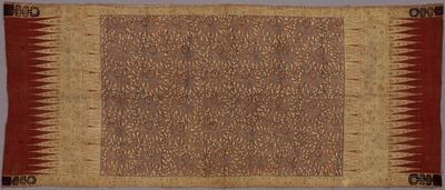 浅葱地水草花文様更紗装飾布