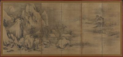 秋冬山水図屏風