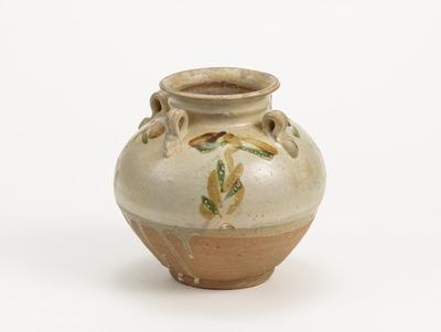 白釉緑褐彩壺
