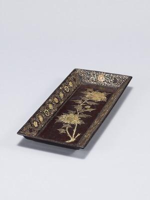 牡丹螺鈿長方盆
