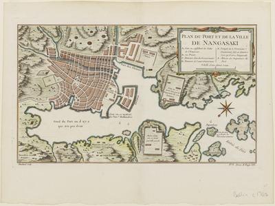 長崎の港と市街図