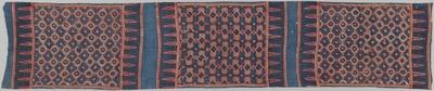 藍地メダイヨン繋ぎ幾何形花文様更紗装飾布